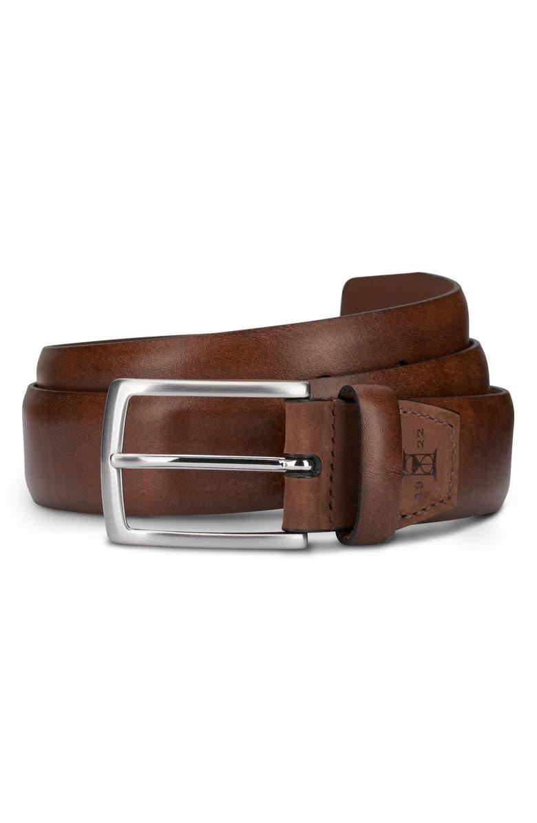 ALLEN EDMONDS Glass Avenue Leather Belt, Main, color, CIGAR