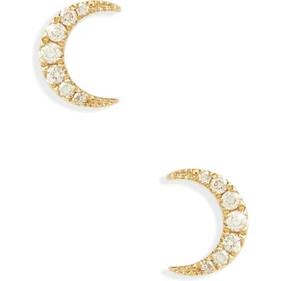 Ef Collection Mini Moon Diamond Stud Earrings