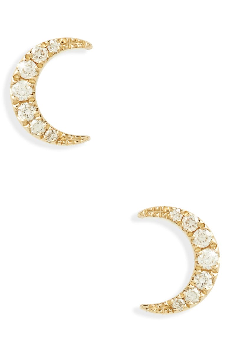 EF COLLECTION Mini Moon Diamond Stud Earrings, Main, color, YELLOW GOLD