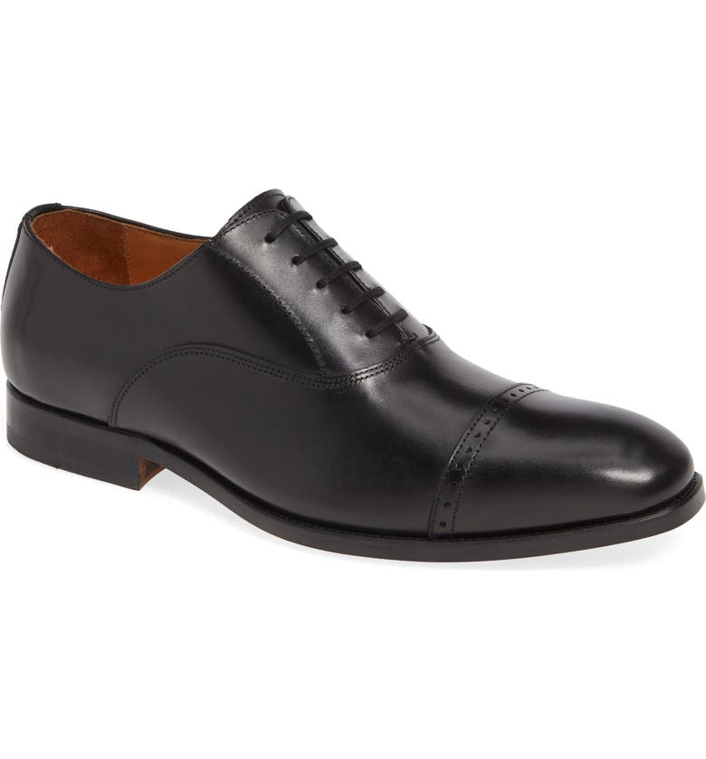 JACK ERWIN Walker Cap Toe Oxford, Main, color, BLACK LEATHER