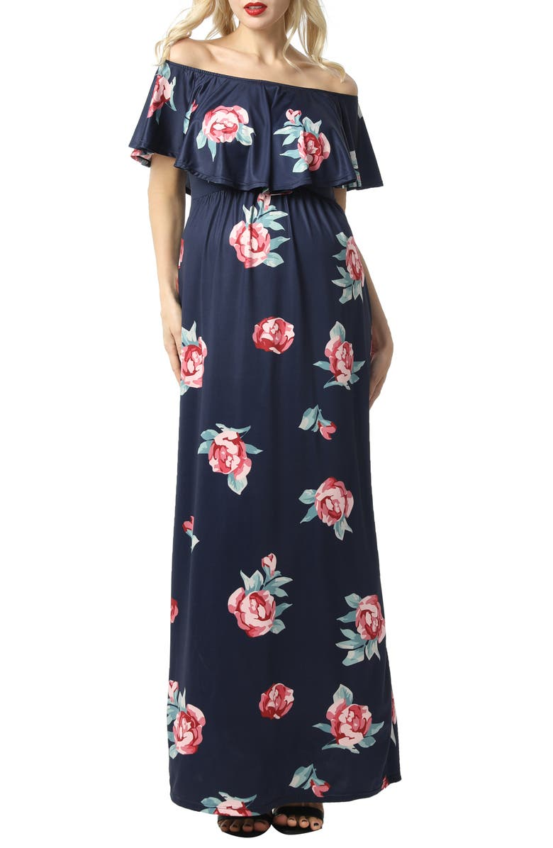 KIMI AND KAI Maddison Off the Shoulder Maxi Maternity Dress, Main, color, NAVY