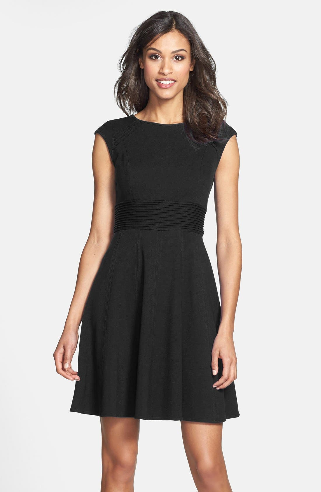 ,                             Pintucked Waist Seamed Ponte Knit Fit & Flare Dress,                             Main thumbnail 15, color,                             001