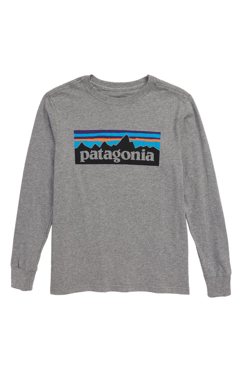 PATAGONIA Long Sleeve Graphic T-Shirt, Main, color, P6 LOGO GRAVEL HEATHER