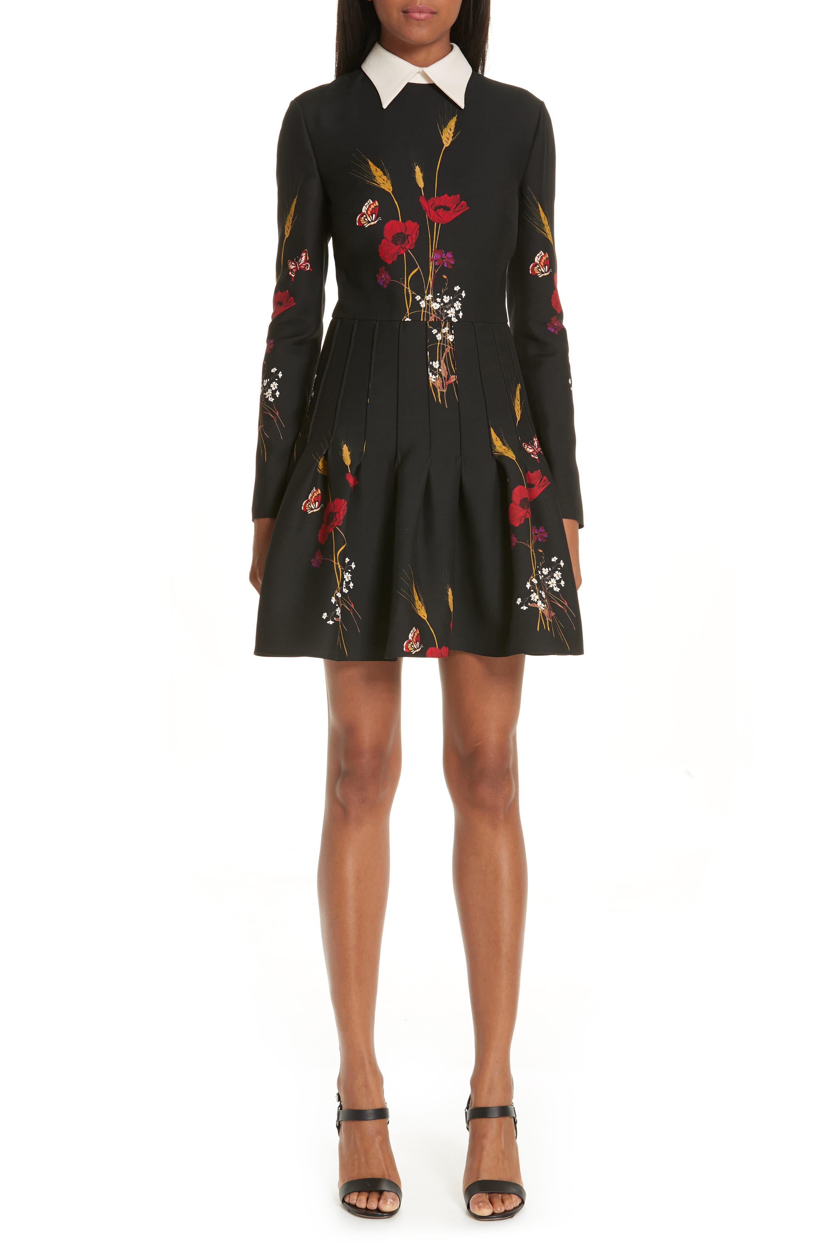 Valentino Floral Meadow Print Crepe Couture Dress, Black