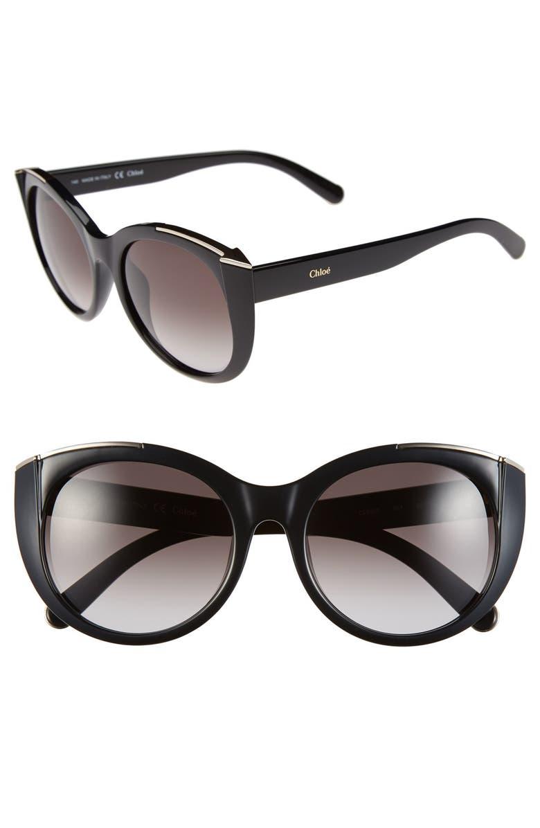 CHLOÉ 'Dalia' 55mm Cat Eye Sunglasses, Main, color, 001
