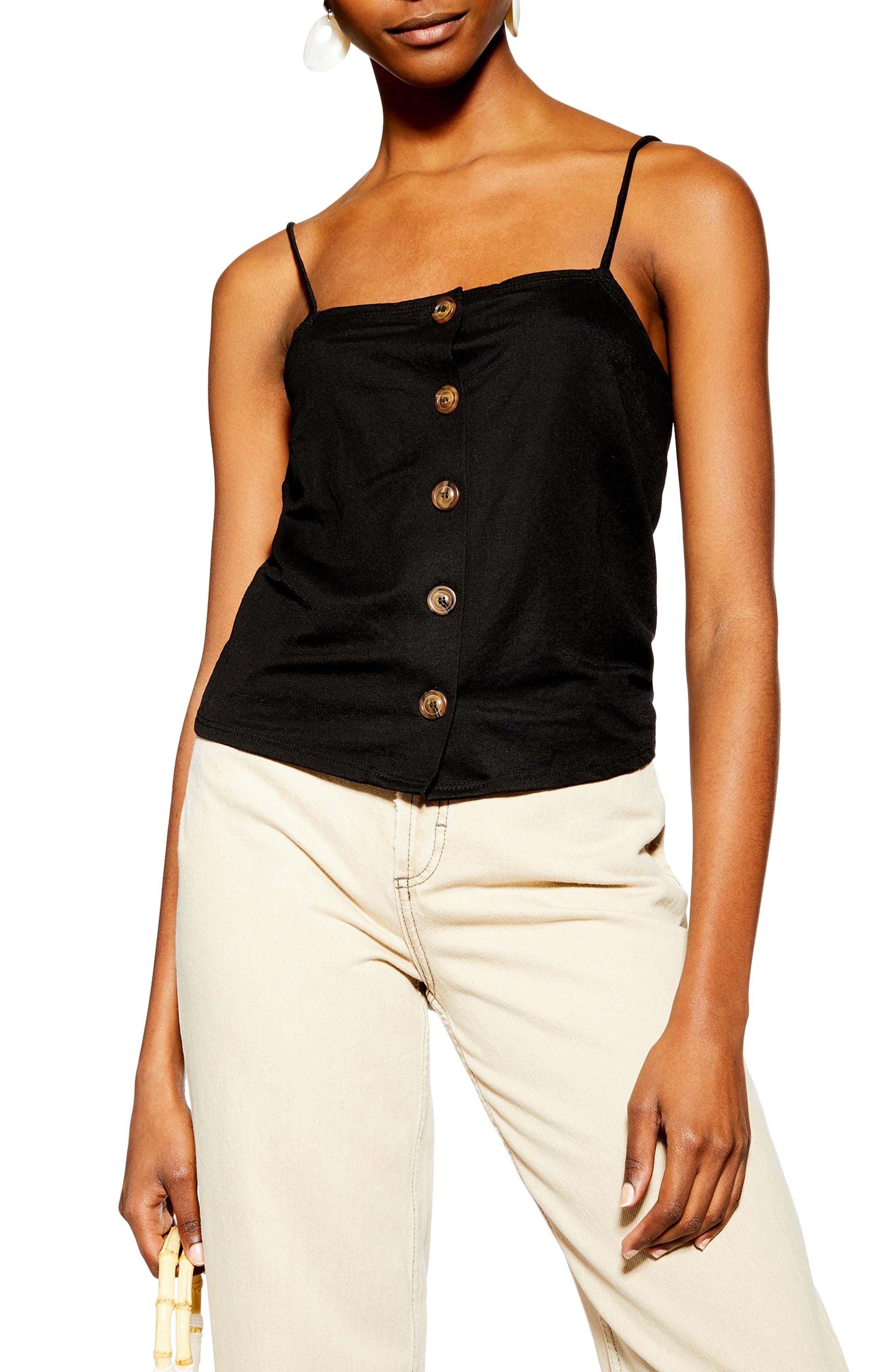 Bow Back Button Camisole, Main, color, BLACK
