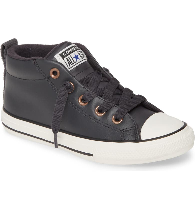 CONVERSE Chuck Taylor<sup>®</sup> All Star<sup>®</sup> Mid Top Street Sneaker, Main, color, ALMOST BLACK/ BLUE/ BLACK