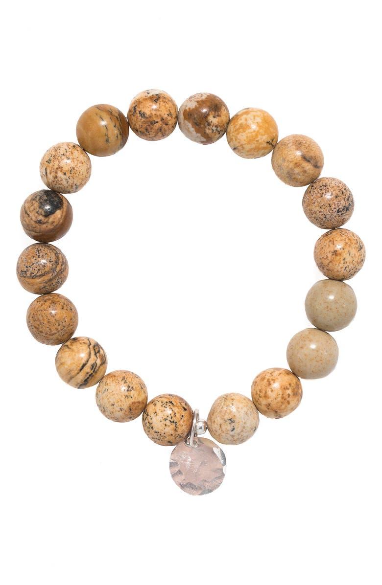TERESSA LANE JEWELRY Sterling Silver Stone Stretch Bracelet, Main, color, JASPER