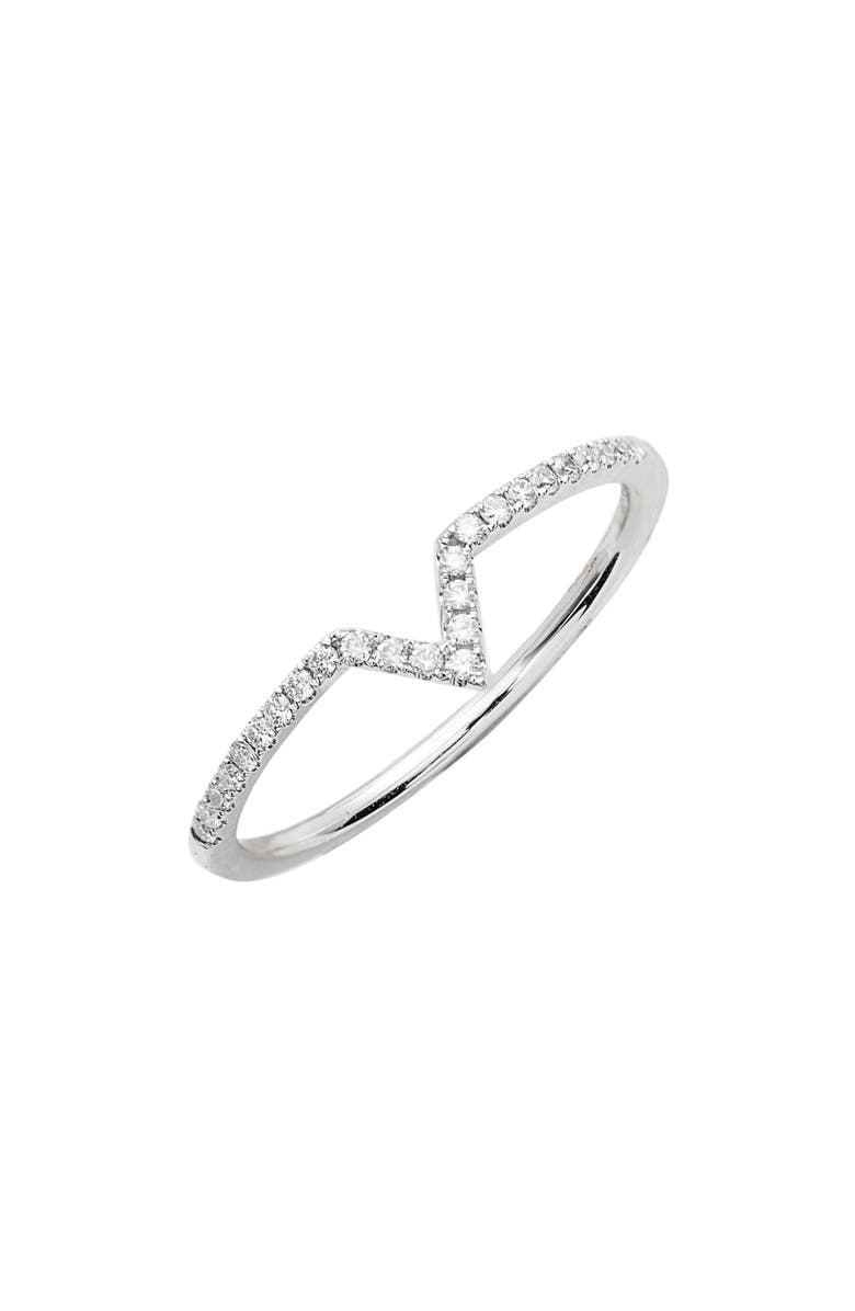 BONY LEVY Open Triangle Stackable Diamond Ring, Main, color, WHITE GOLD