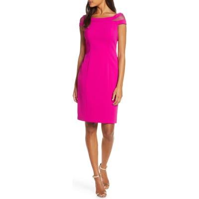 Vince Camuto Mesh Inset Sheath Dress, Pink