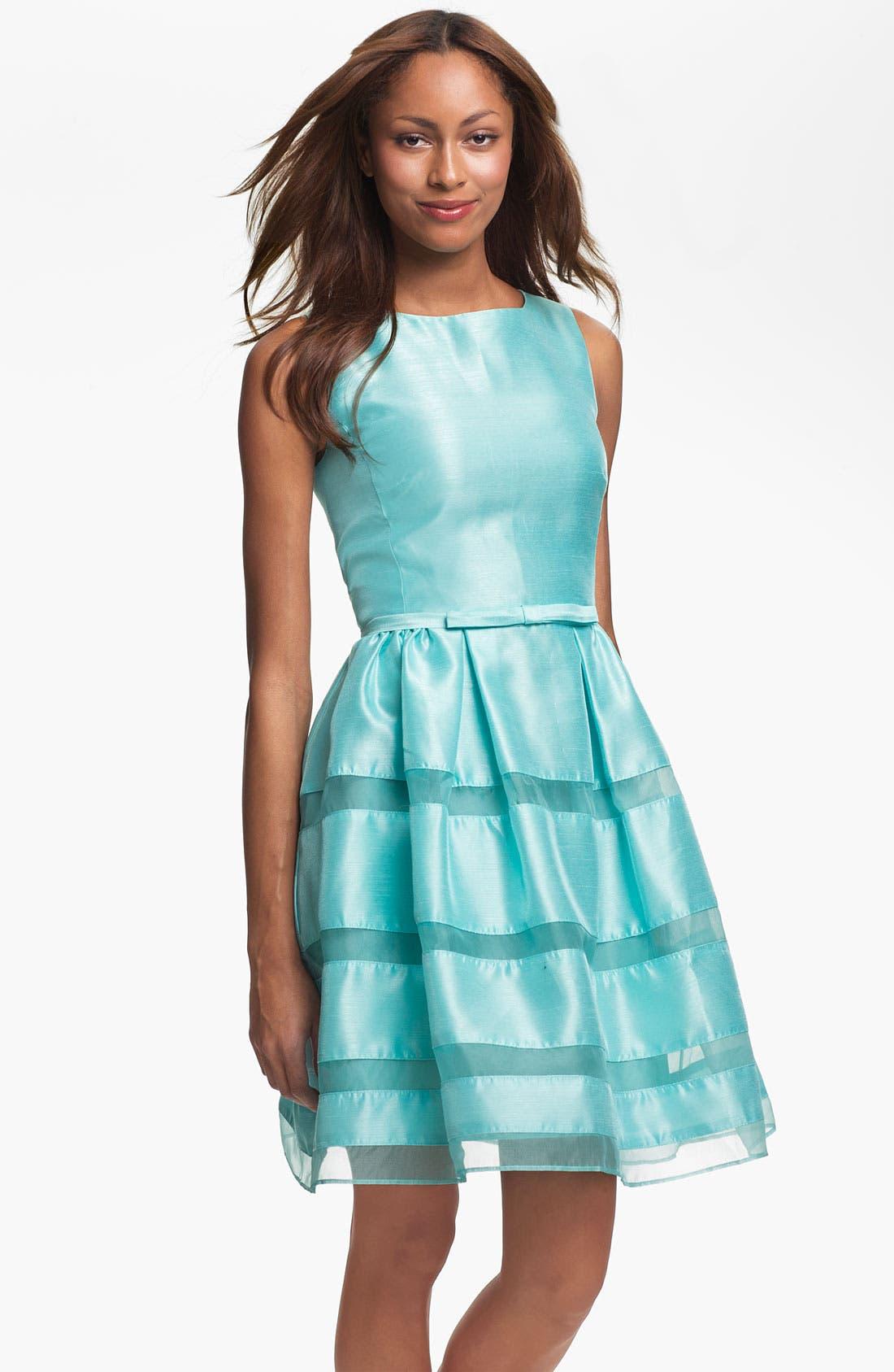 ,                             Tonal Stripe Fit & Flare Dress,                             Main thumbnail 9, color,                             324