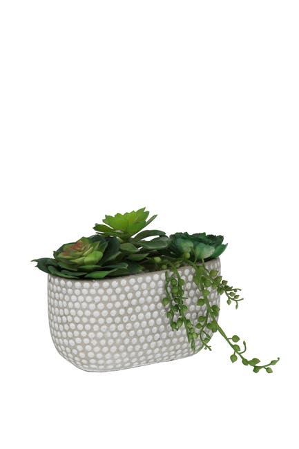 Image of FLORA BUNDA Grey Oval Texture Patterned Pot