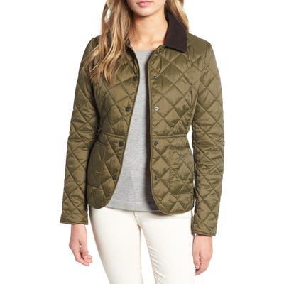 Barbour Deveron Diamond Quilted Jacket, 18 UK - Green