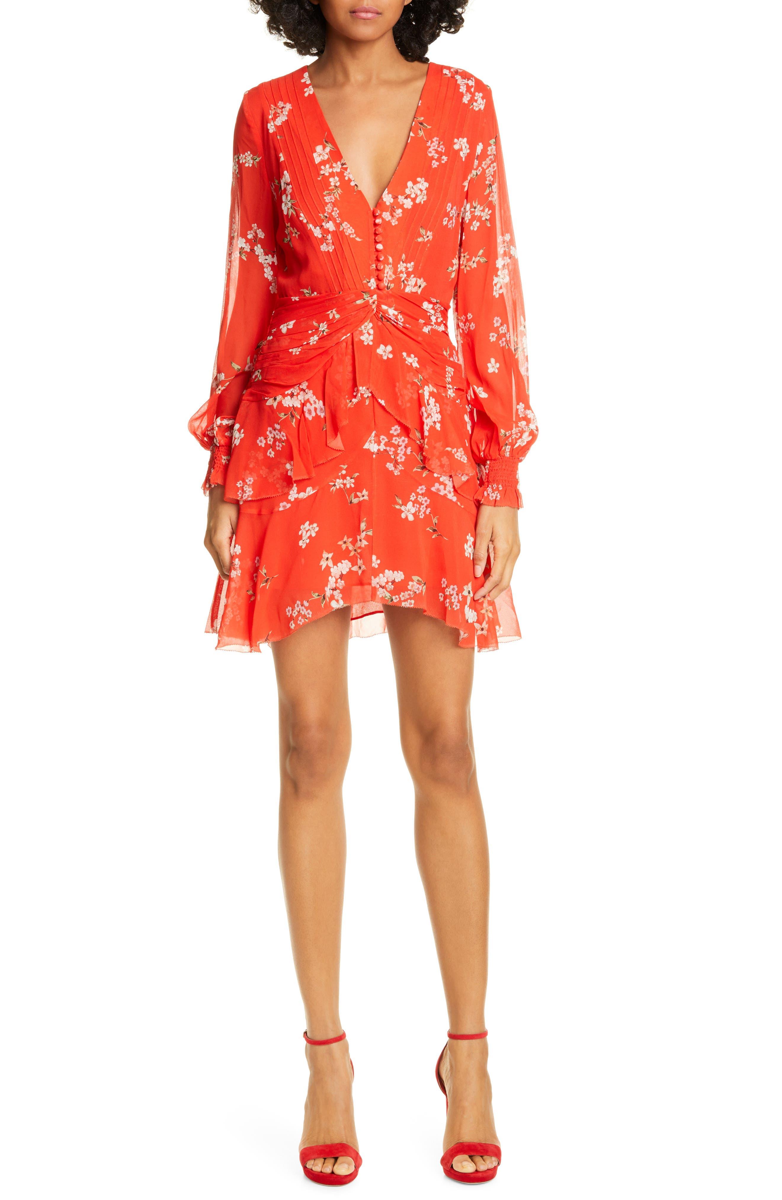Nicholas Floral Print Long Sleeve Silk Minidress, Red