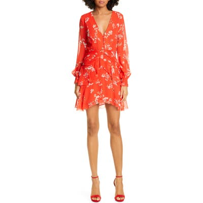 Nicholas Floral Print Long Sleeve Silk Minidress, Red