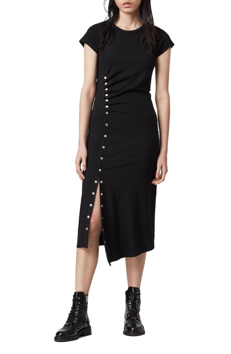 ALLSAINTS Hatti Midi T-Shirt Dress, Main, color, 001