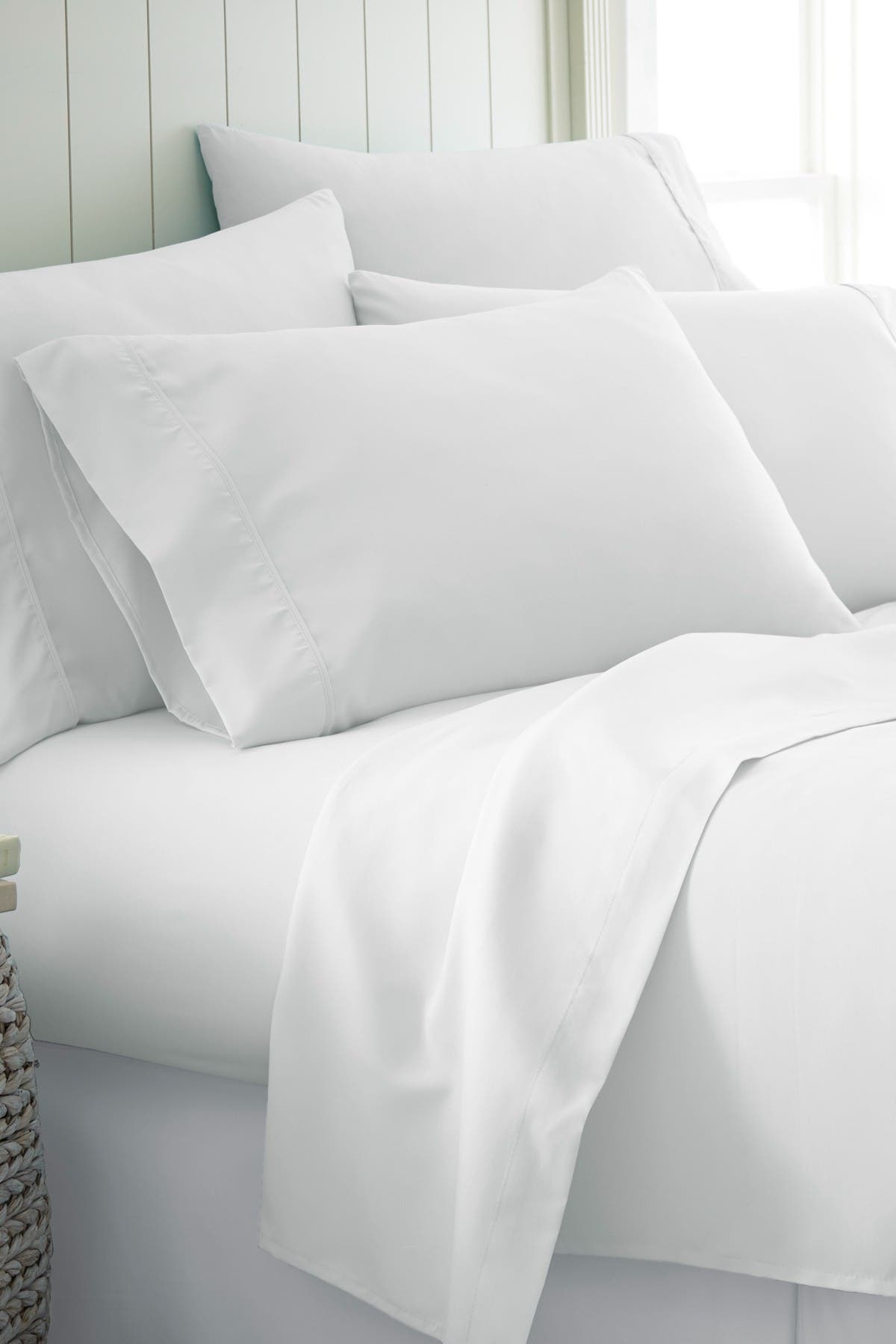 Image of IENJOY HOME King Hotel Collection Premium Ultra Soft 6-Piece Bed Sheet Set - White