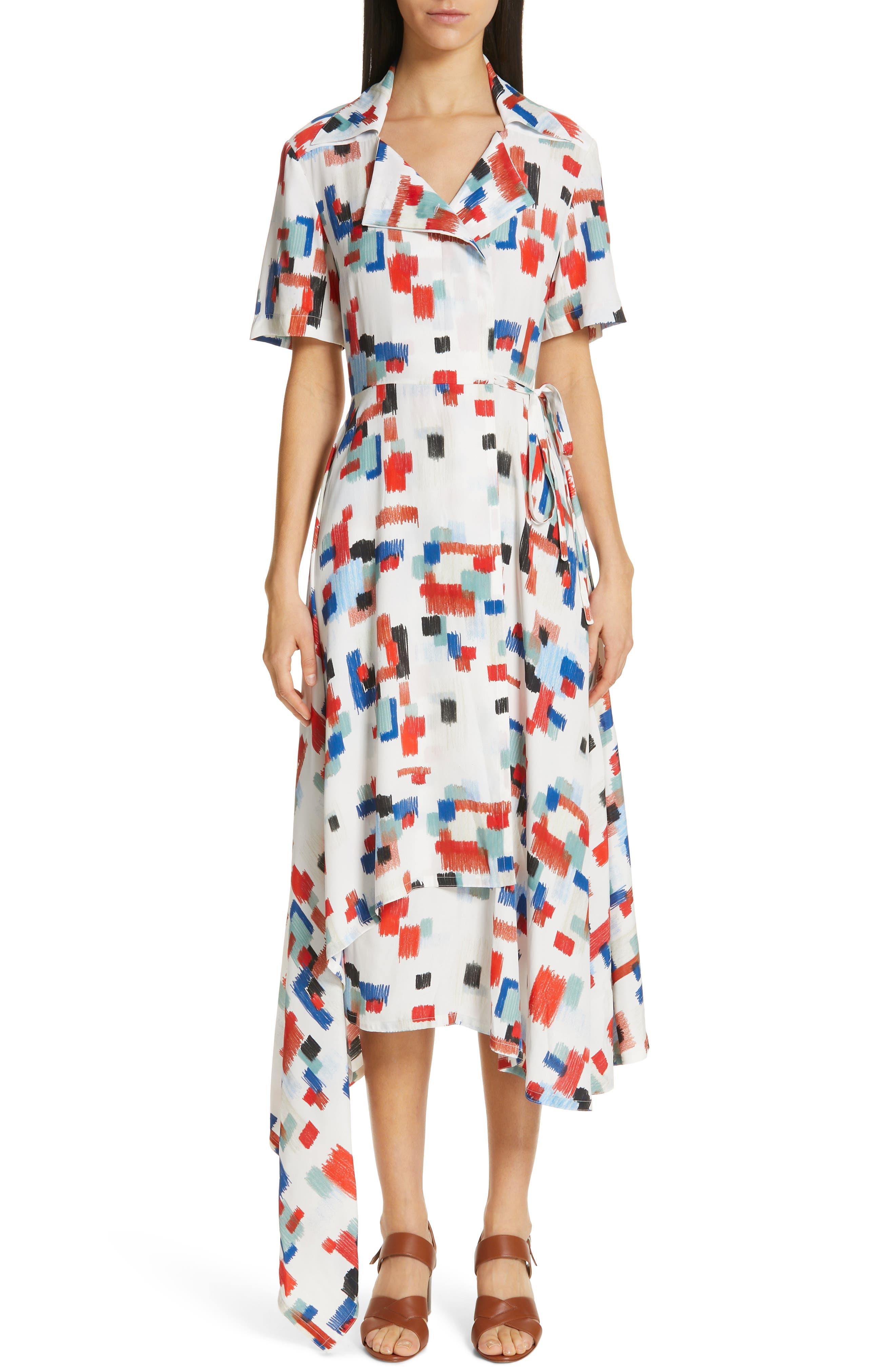 Rosetta Getty Scribble Print Wrap Dress, Ivory