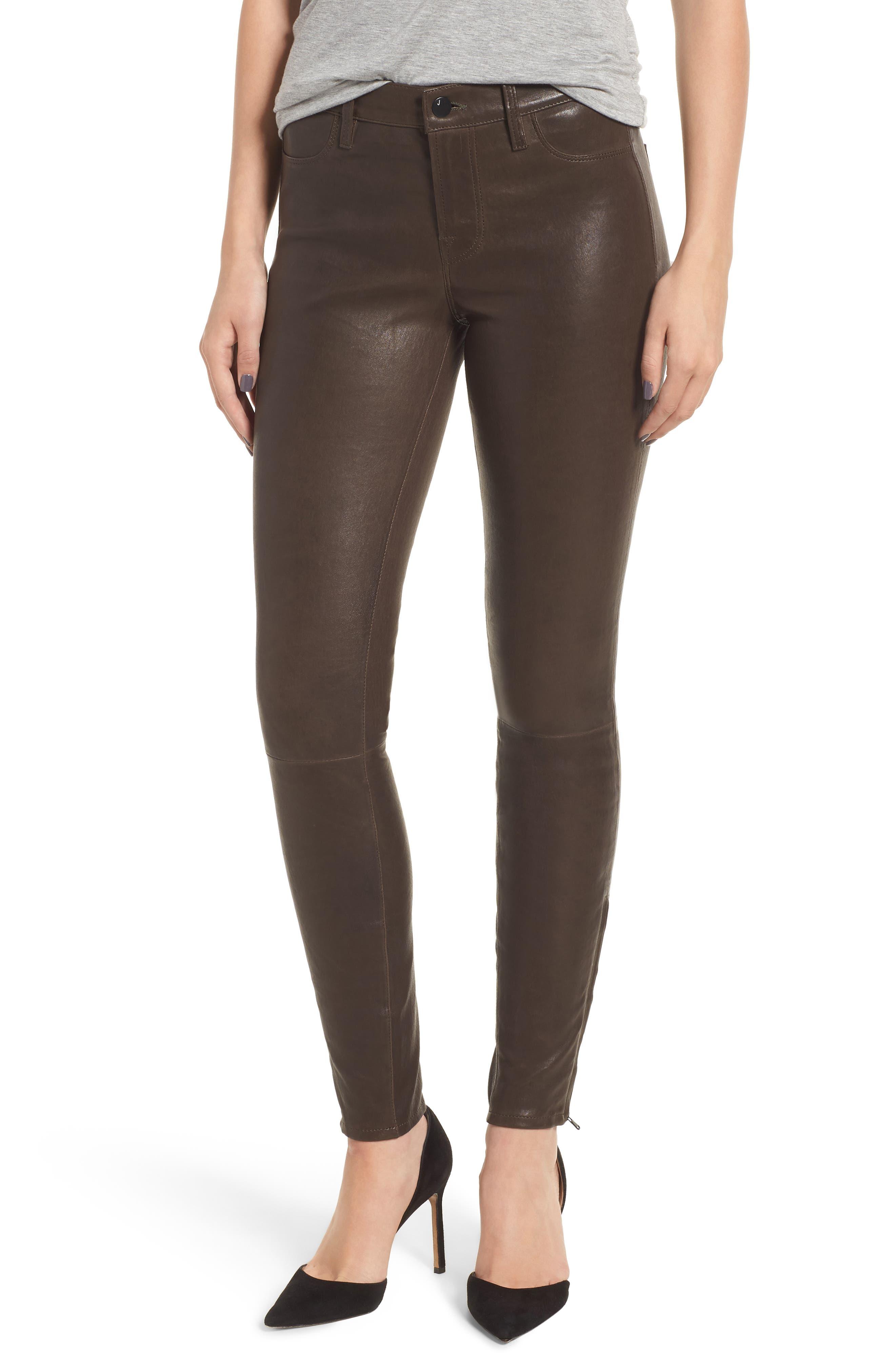,                             '8001' Lambskin Leather Pants,                             Main thumbnail 7, color,                             209