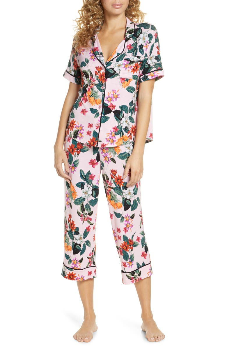 ROOM SERVICE Crop Pajamas, Main, color, PINK ALL-OVER FLORAL