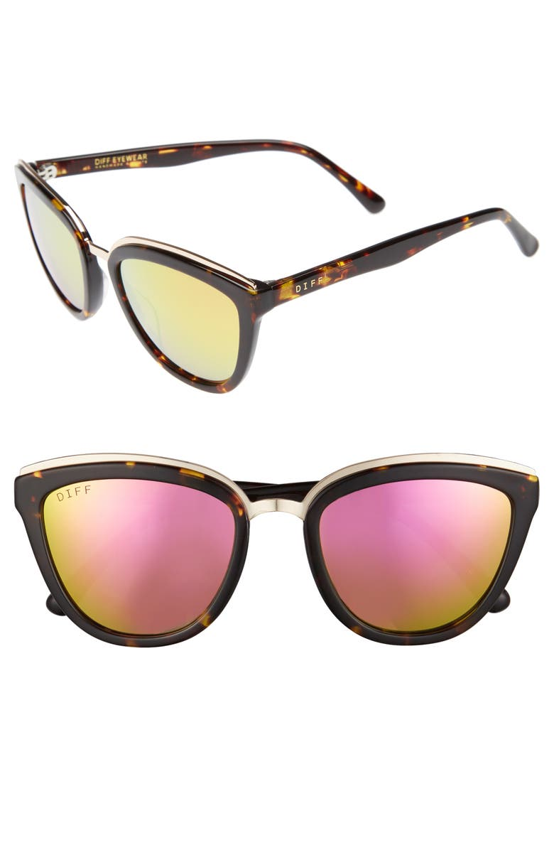 DIFF Rose 55mm Polarized Mirrored Sunglasses, Main, color, 200