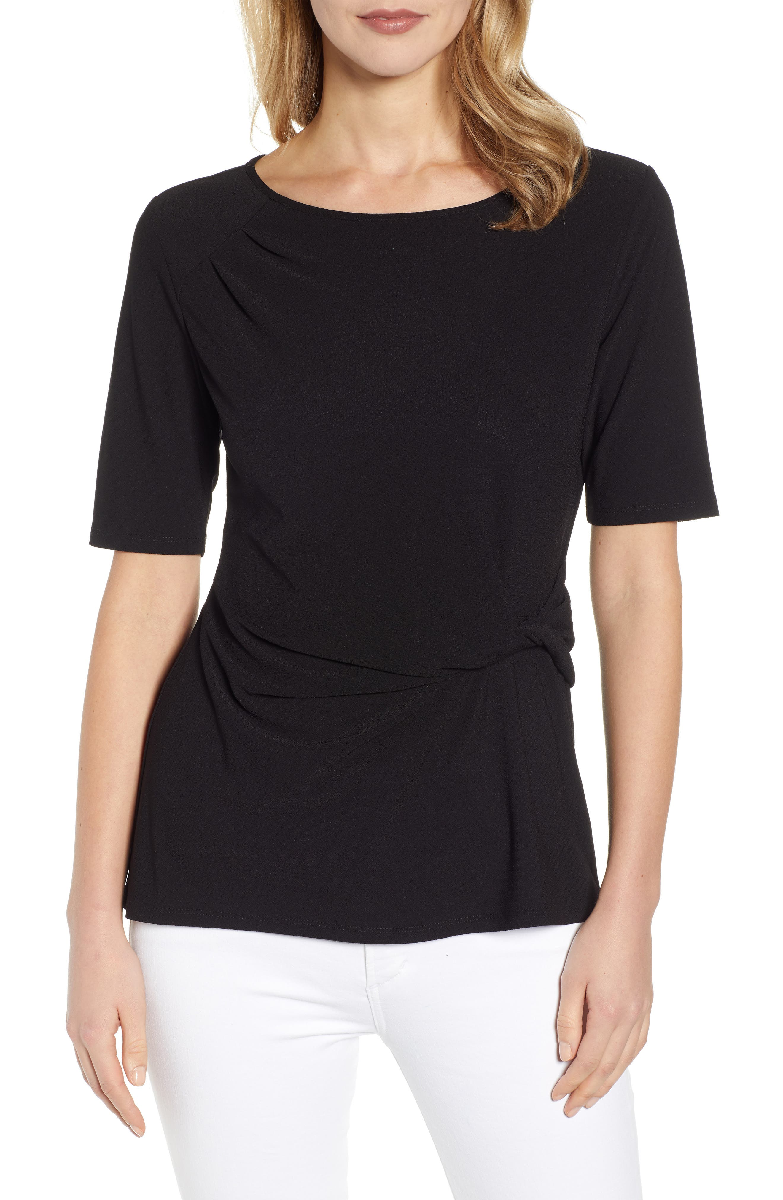Side Knot Top, Main, color, RICH BLACK