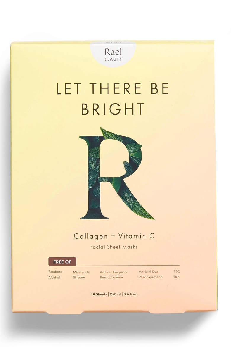RAEL Let There Be Bright Collagen & Vitamin C Set of 10 Facial Sheet Masks, Main, color, PINK AND YELLOW
