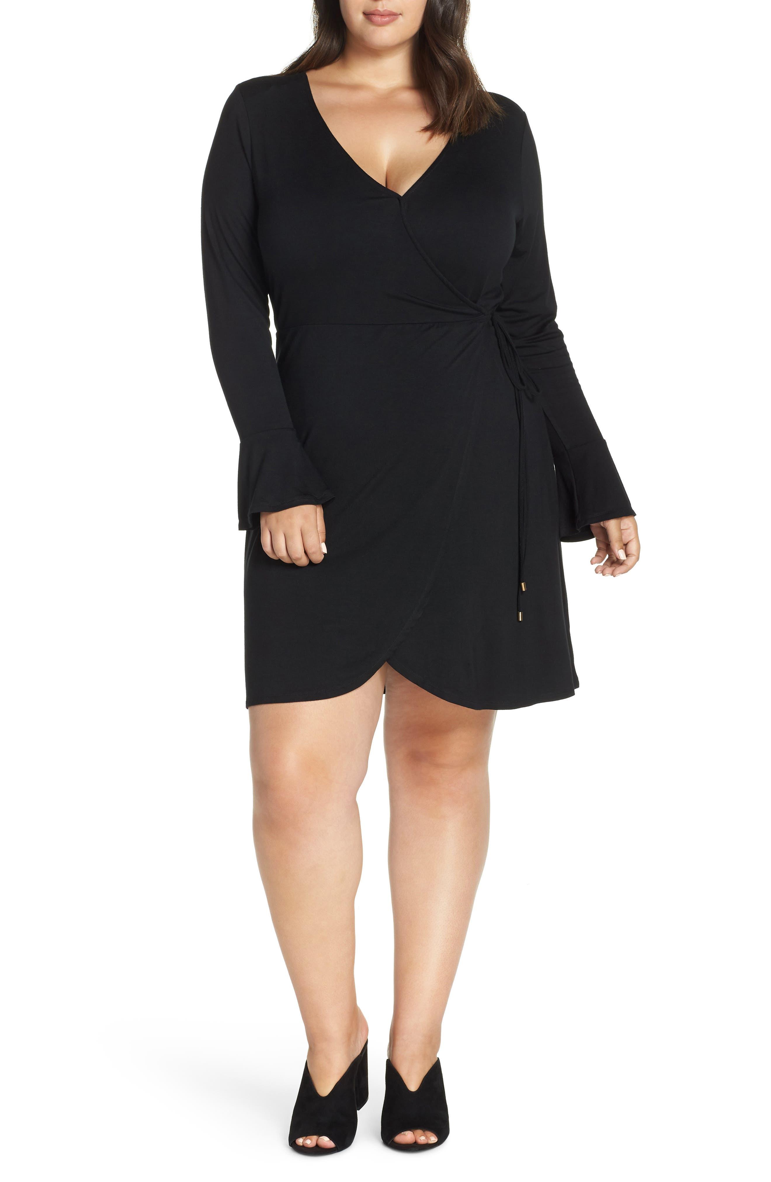 Plus Size Lemon Tart Casey Faux Wrap Dress, Black