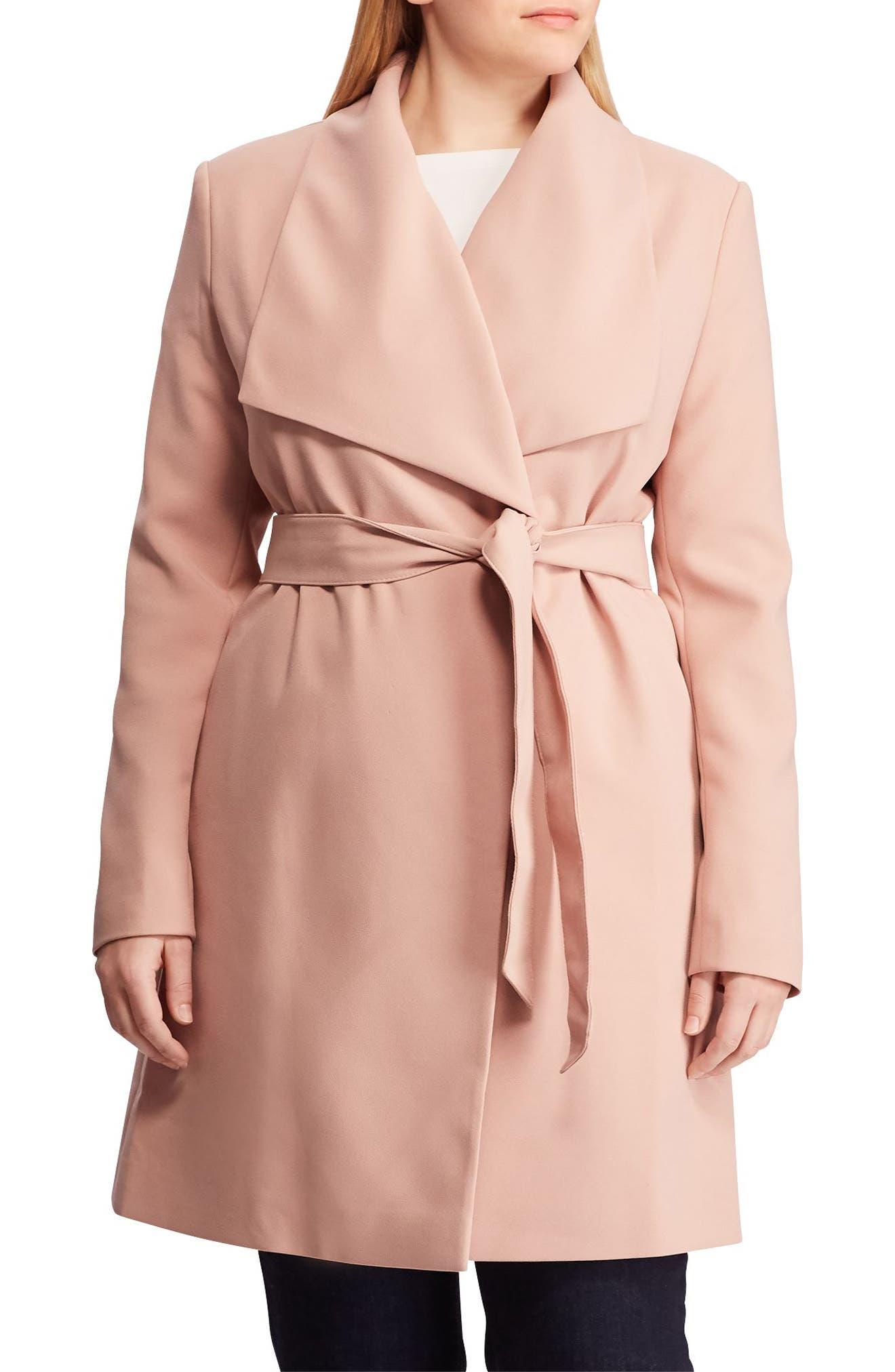 ,                             Belted Drape Front Coat,                             Main thumbnail 4, color,                             654