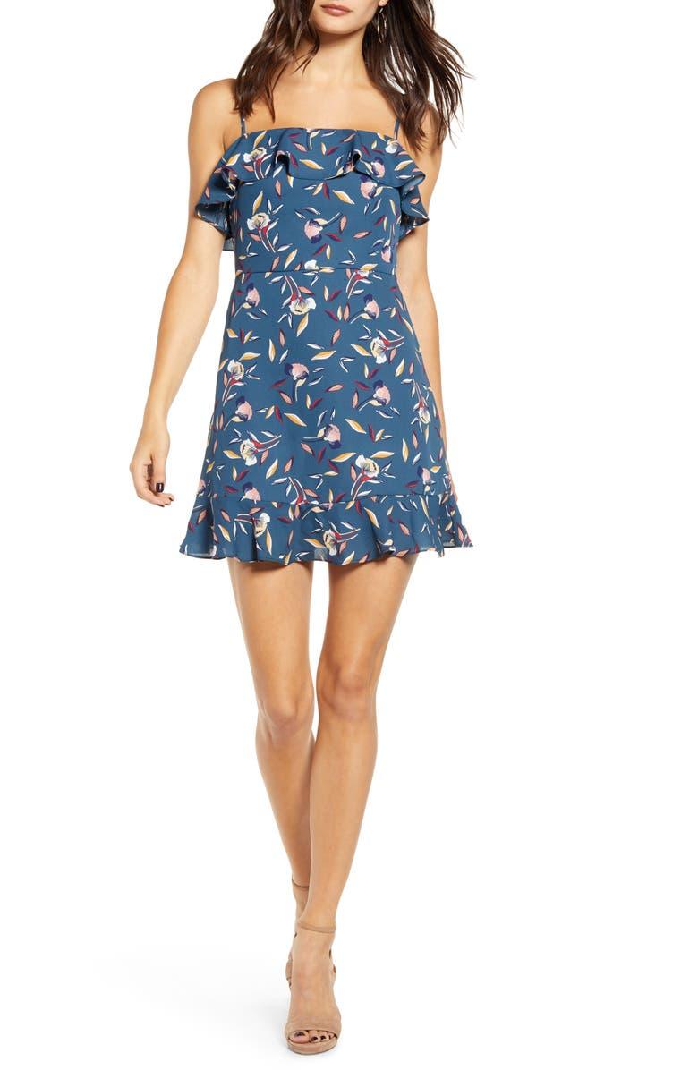 ROW A Floral Ruffle Minidress, Main, color, BLUEBRICK