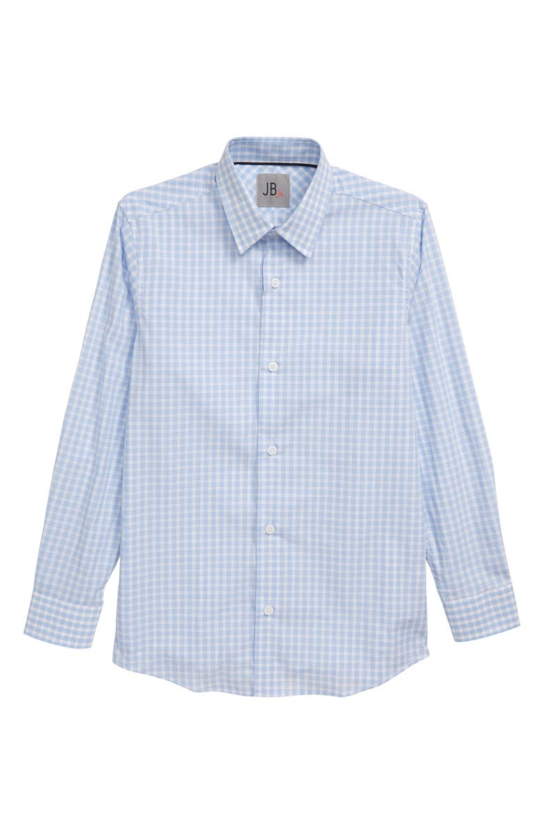 JB JR Plaid Cotton Dress Shirt, Main, color, BLUE