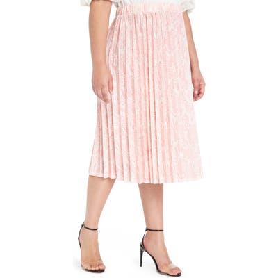 Plus Size Eloquii Snake Print Pleated Matte Jersey Skirt, W/28W - Pink