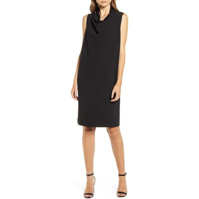 Anne Klein Cowl Neck Crepe Sheath Dress, Black