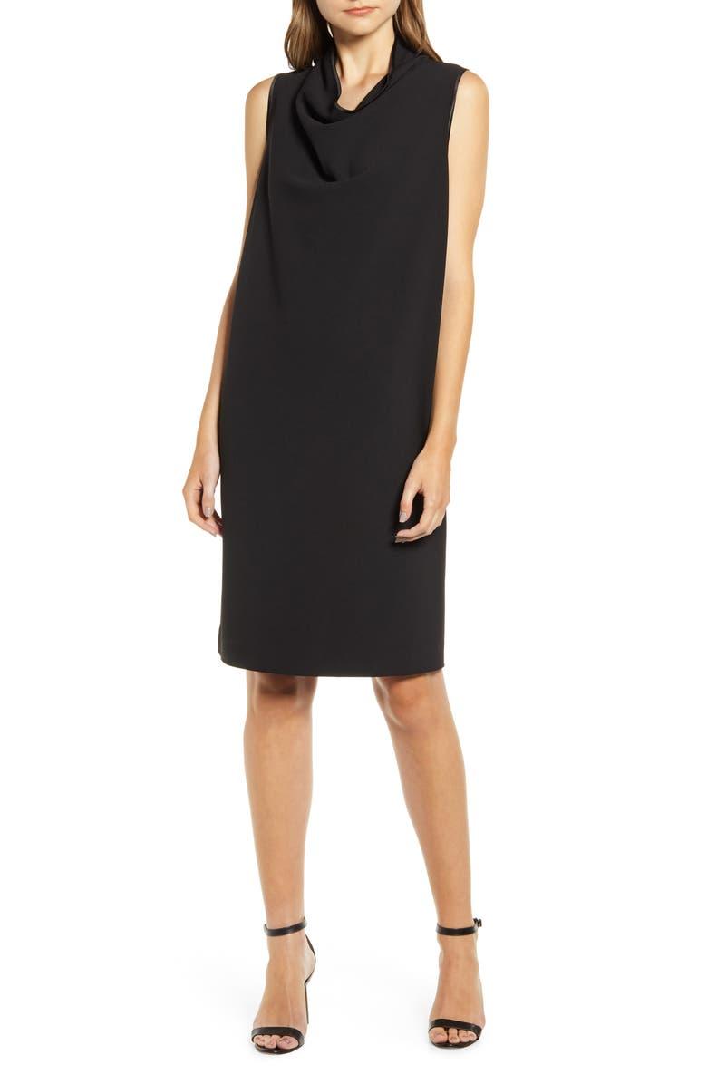 ANNE KLEIN Cowl Neck Crepe Sheath Dress, Main, color, ANNE BLACK