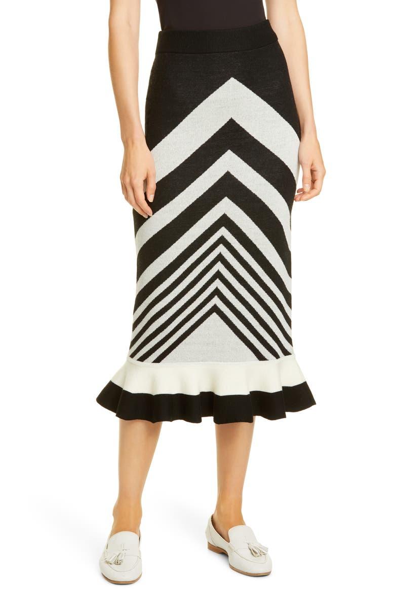 VICTOR GLEMAUD Chevron Ruffle Wool Midi Skirt, Main, color, BLACK AND WHITE COMBO