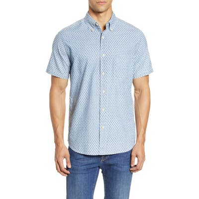 Faherty Everyday Short Sleeve Button-Down Shirt, Blue
