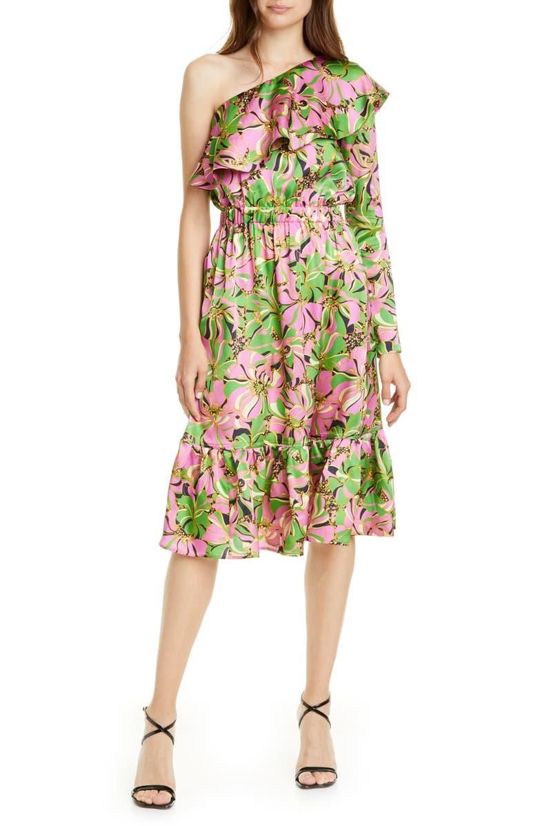 LA DOUBLEJ Boodie One-Shoulder Silk Dress, Main, color, CARNEVALE