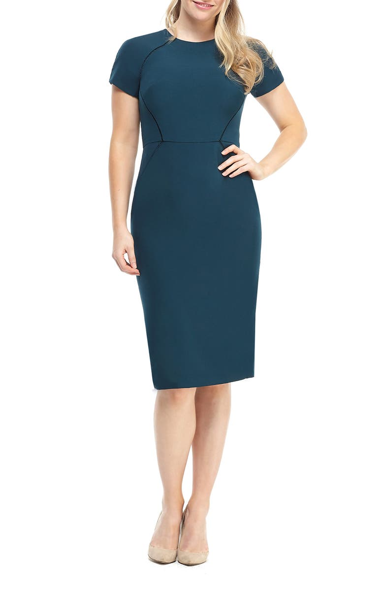 MAGGY LONDON Ladder Trim Sheath Dress, Main, color, PINE
