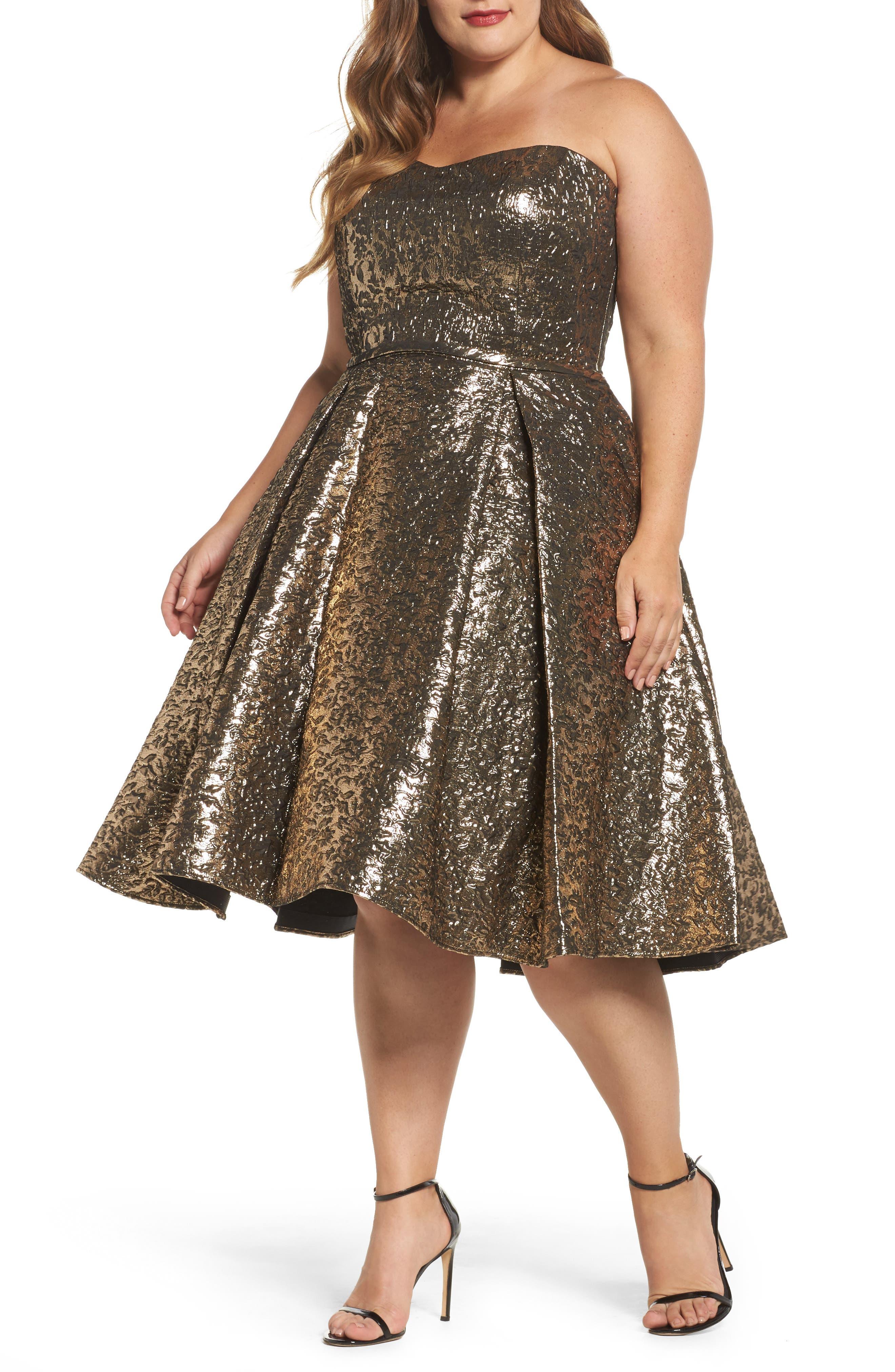 Plus Size MAC Duggal Metallic Fit & Flare Dress, Metallic