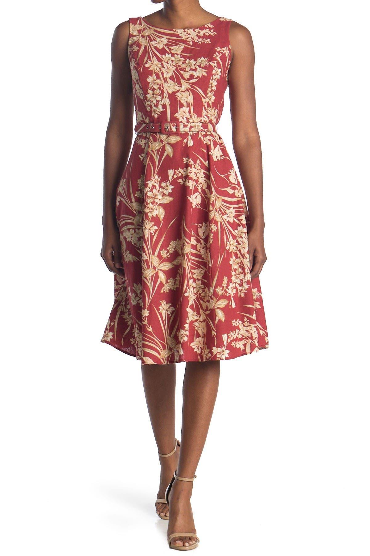 Image of London Times Boatneck Floral Belted Dress