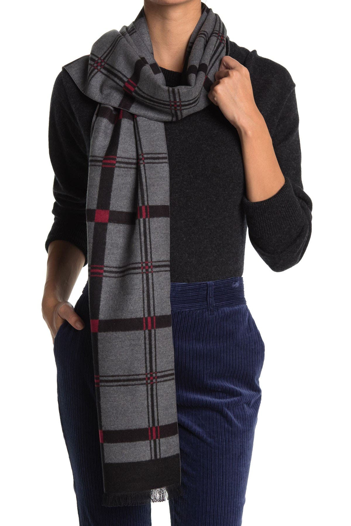 Image of Chelsey Imports Plaid Silk Scarf
