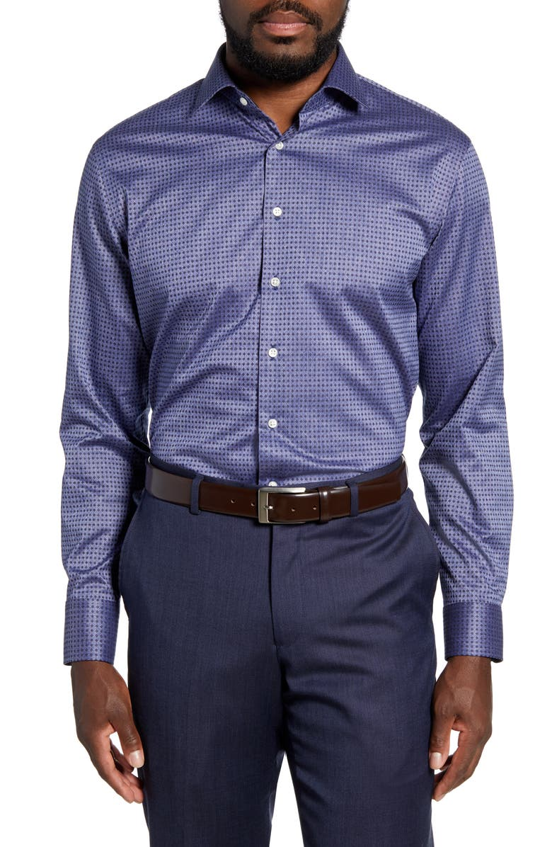 NORDSTROM MEN'S SHOP Trim Fit Non-Iron Dot Dress Shirt, Main, color, 450