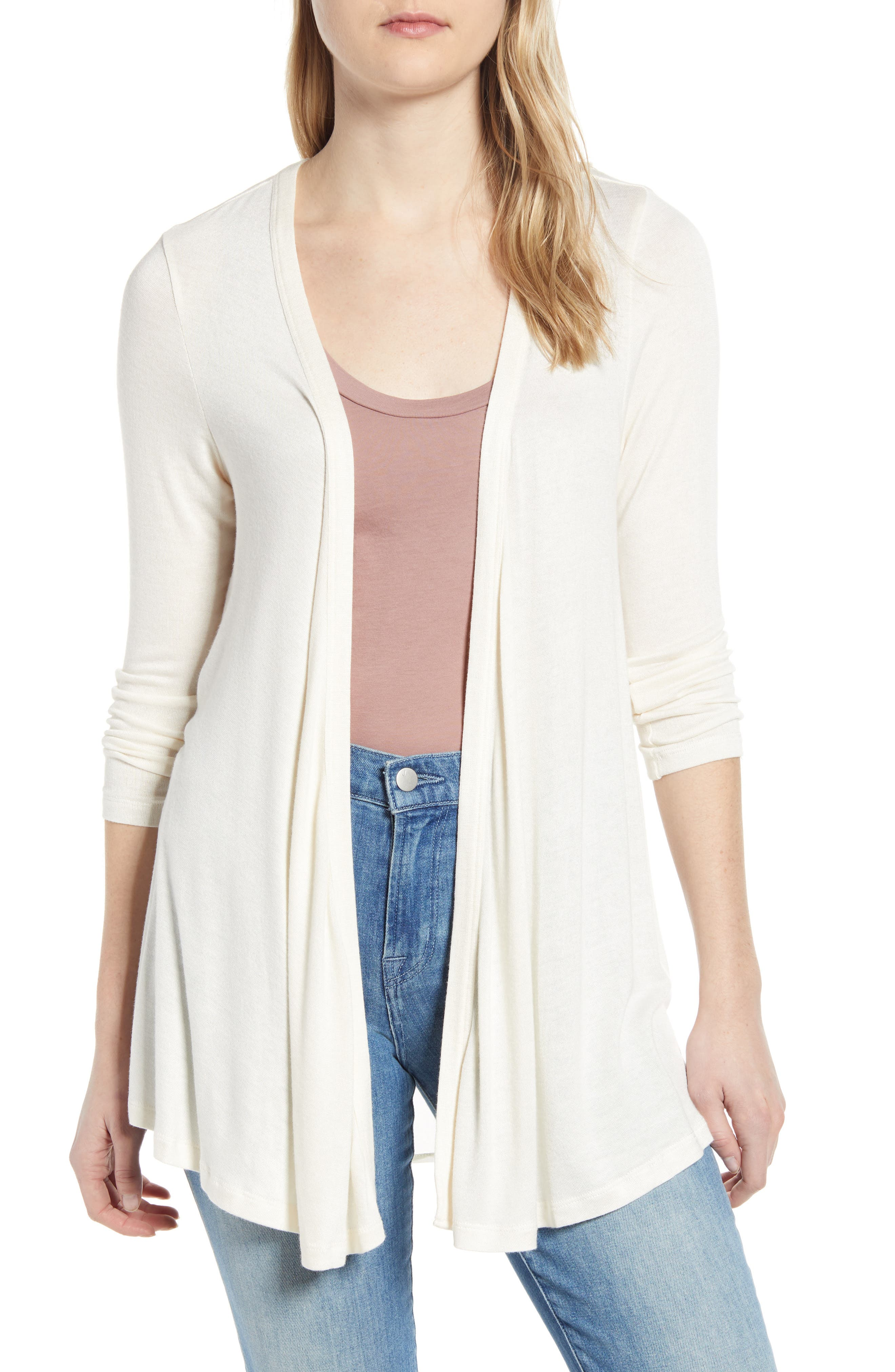 A knit cardigan with a beautifully draped open front features an airy chiffon inset at the back, making it a lightweight, swingy and modern layering piece. Style Name: Bobeau Mixed Media Cardigan. Style Number: 6049018. Available in stores.