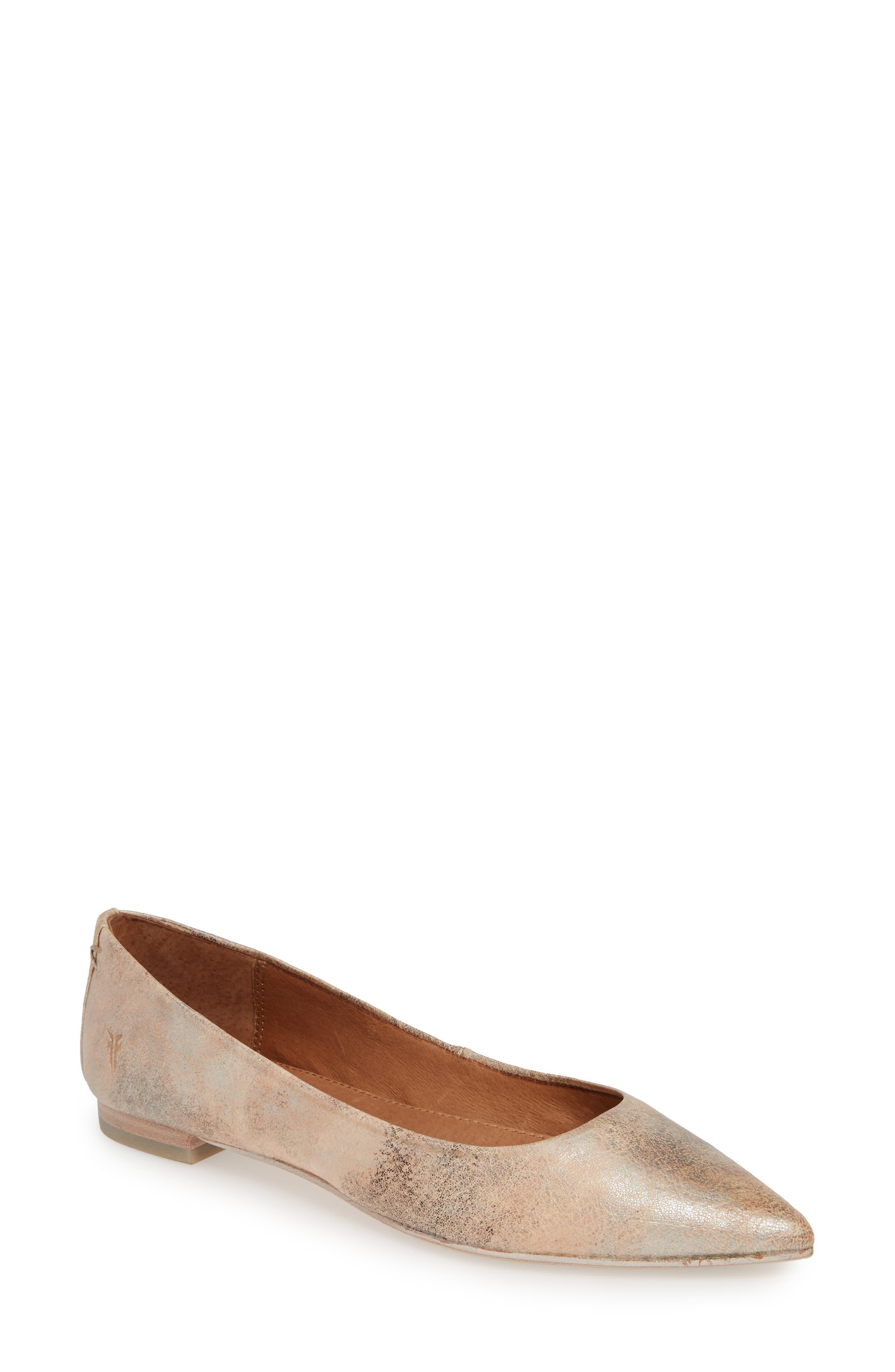 Frye Sienna Pointy Toe Ballet Flat, Metallic