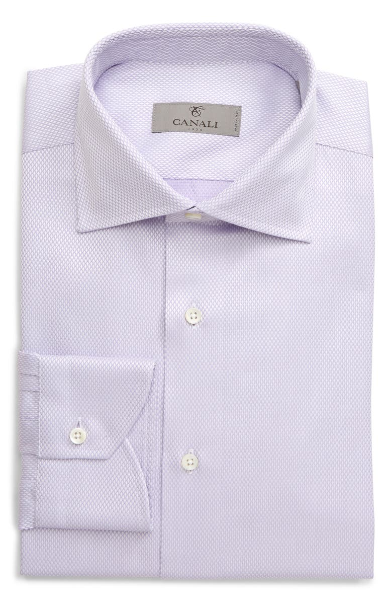 CANALI Regular Fit Diamond Textured Dress Shirt, Main, color, PURPLE