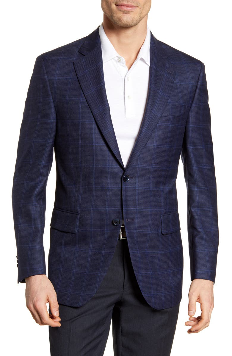 PETER MILLAR Classic Fit Windowpane Wool Sport Coat, Main, color, NAVY