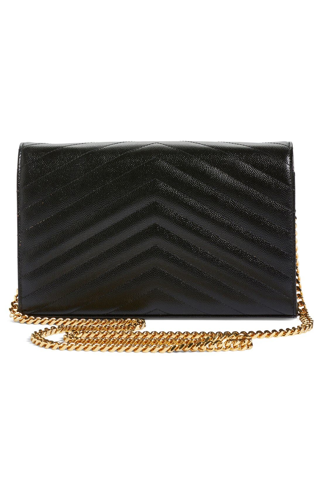 ,                             Large Monogram Quilted Leather Wallet on a Chain,                             Alternate thumbnail 5, color,                             NOIR