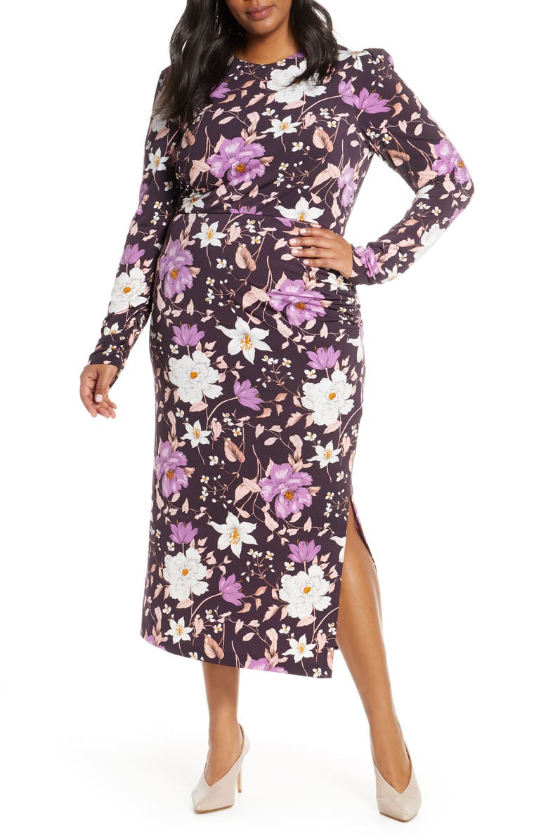 ELIZA J Floral Long Sleeve Midi Dress, Main, color, AUBERGINE