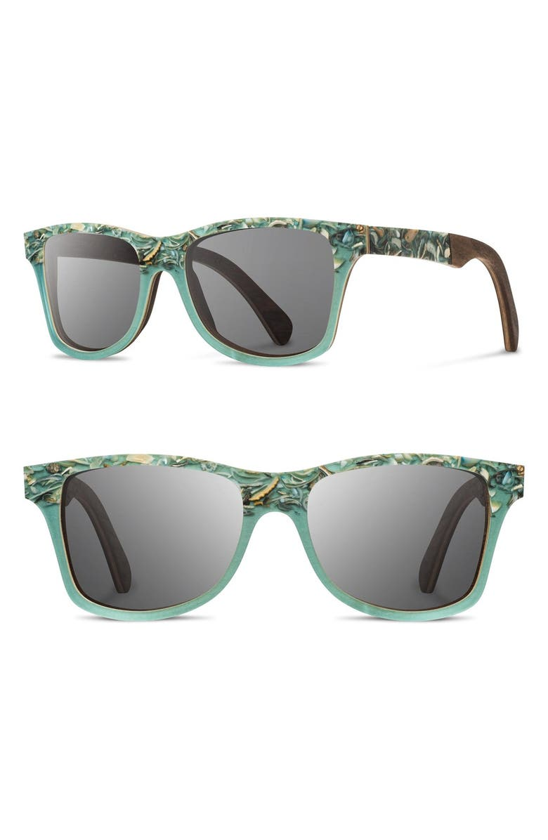 SHWOOD 'Canby' 55mm Polarized Seashell & Wood Sunglasses, Main, color, 441