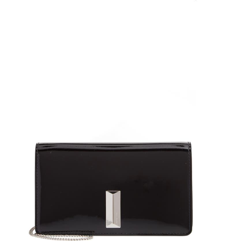 BOSS Nathalie Mini Leather Crossbody Bag, Main, color, BLACK
